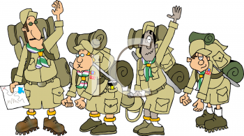 Royalty Free Clipart Image of Boy Scouts