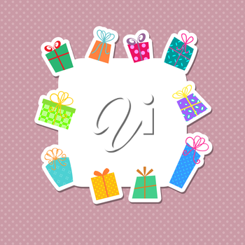 Cute background with Christmas gifts and polka dots