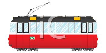 Vintage tram illustration, isolated object over white background