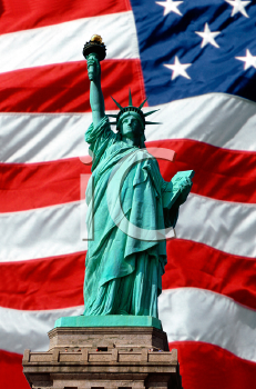 Royalty Free Photo of the Statue of Liberty Superimposed Over Waving American Flag