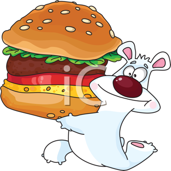 Royalty Free Clipart Image of a Bear Running With a Burger