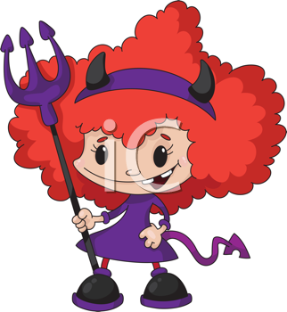 Royalty Free Clipart Image of a Little Devil Girl