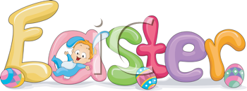 Royalty Free Clipart Image of an Easter Element With a Child and Eggs