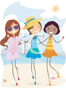 Royalty Free Clipart Image of Three Girls on a Beach