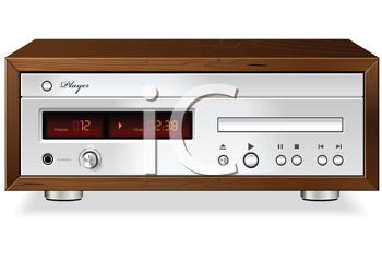 Royalty Free Clipart Image of a Vintage CD, DVD, and Mp3 Player