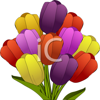 Royalty Free Clipart Image of a Bunch of Tulips
