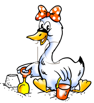 Royalty Free Clipart Image of a Swan Building a Sand Castle