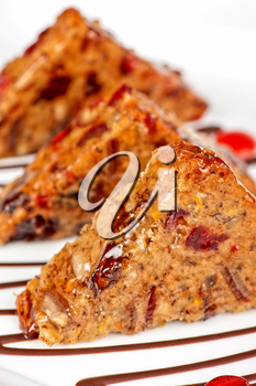 Fruit bread sliced at plate