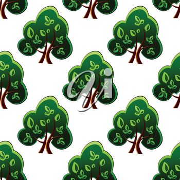 Fresh leafy green spring trees with a repeat motif in a seamless pattern, vector illustration isolated on white