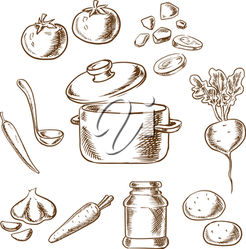 Sketch vector recipe of vegetarian soup with cooking pot and ladle surrounded by cabbage, beet, garlic, onion, carrot, tomato and potato vegetables and spices