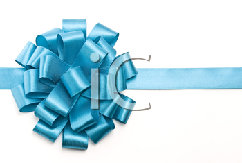 Royalty Free Photo of a Blue Ribbon Bow
