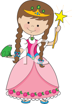 Royalty Free Clipart Image of Princess With a Wand and Frog