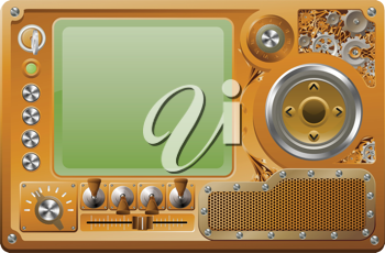 Steampunk style grunge media player control panel