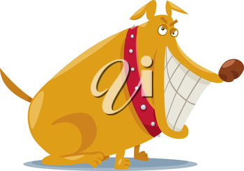 Cartoon Illustration of Happy Funny Dog with Toothy Smile