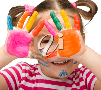 Portrait of a cute cheerful girl with painted hands, isolated over white