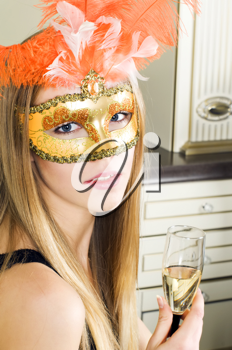 Royalty Free Photo of a Woman With a Mask