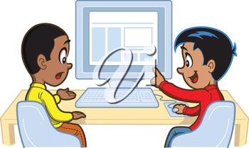 Royalty Free Clipart Image of Two Boys Looking at a Computer