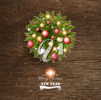 Christmas Card With Pine Branches And Christmas Balls On a Wooden Background