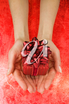 Royalty Free Photo of a Woman Holding a Present