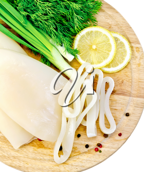 Whole and sliced squid rings, lemon, dill, different peppers, green onions on a wooden board isolated on white background