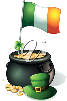 Illustration of a  flag, a clover plant, a pot of gold and a green hat on a white background