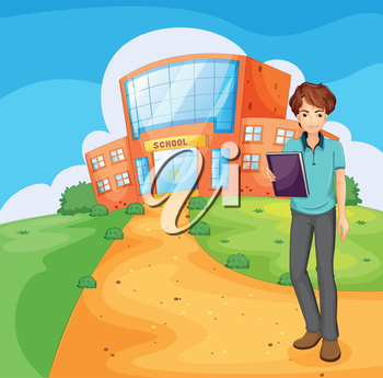 Illustration of a boy holding a book standing outside the school building