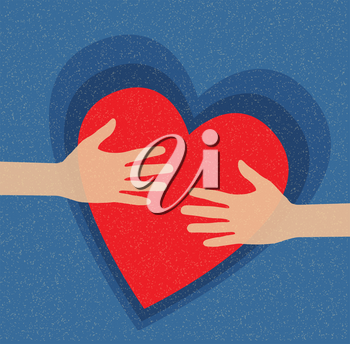 Royalty Free Clipart Image of Hands Holding a Heart