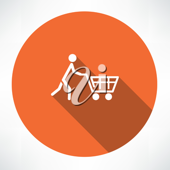 man with trolley icon