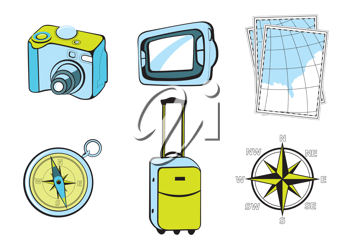 Royalty Free Clipart Image of Tourist Icons