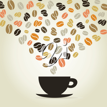 Coffee cup made of coffee grains. A vector illustration