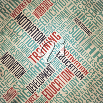 Development Background - Grunge Wordcloud Concept on Old Paper.