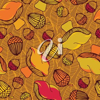 Seamless pattern with acorns, mushrooms and autumn leaves. Good idea for textile, wrapping, wallpaper or cloth design. Autumn leaf background. Vintage illustration.