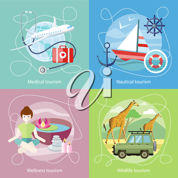 Wildlife Tourism. Wellness tourism. Flat design style modern concept of medical services abroad, along with the rest. Sailing vessel in clear blue water. Nautical tourism