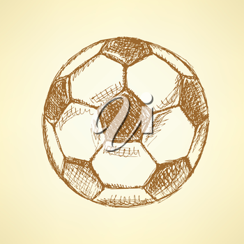 Sketch football balll, vector vintage background eps 10