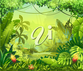 Royalty Free Clipart Image of a Jungle Background