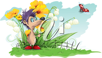 Royalty Free Clipart Image of a Mouse With Purple Hair in a Garden