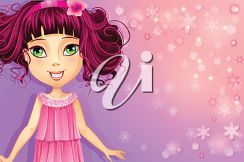 Royalty Free Clipart Image of a Girl on a Pink and Mauve Background
