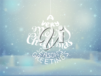Vector illustration. Blurred winter background. Snowy landscape with lights and snowflakes. There is place for your text.