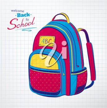 Hand drawn school bag on checkered notebook paper background. Vector illustration.