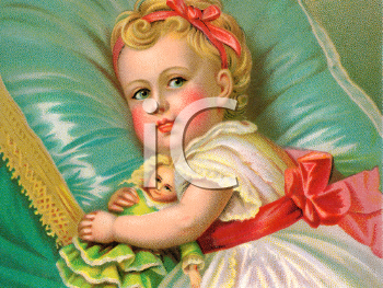 Royalty Free Victorian Illustration of a Small Girl Laying on a Pillow Hugging a Doll