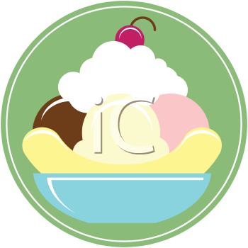 Royalty Free Clipart Image of a Banana Split