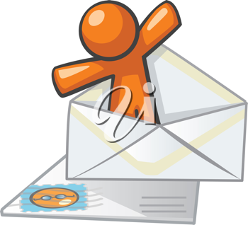 Orange Man mail and messaging concept. Good for contact forms, instant messaging, and not-so-instant messaging, ie, snail mail.