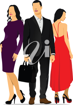 Young handsome man and two young women. Businessman. Business woman. Vector illustration