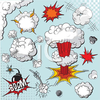 Comic book explosion elements for your design