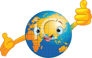 Cartoon world globe giving thumbs up.  (Old World)