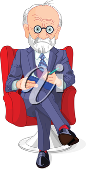 Royalty Free Clipart Image of a Man With a Notebook Sitting in a Chair