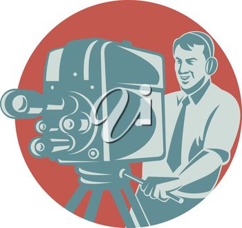 Vector illustration of a cameraman movie director filming vintage tv camera set inside circle shape done in retro style.
