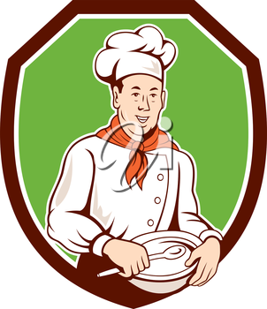 Illustration of a chef cook holding spoon and bowl et inside shield crest on isolated background done in cartoon style.