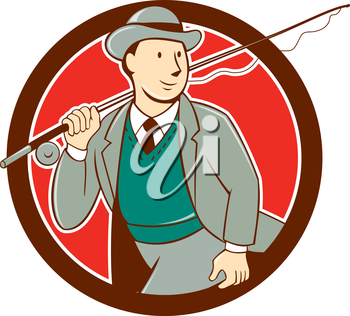Illustration of a vintage fly fisherman tourist wearing bowler hat and vest with fly rod and reel set inside circle done in cartoon style .