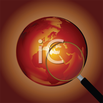 Royalty Free Clipart Image of a Globe With a Magnifying Glass